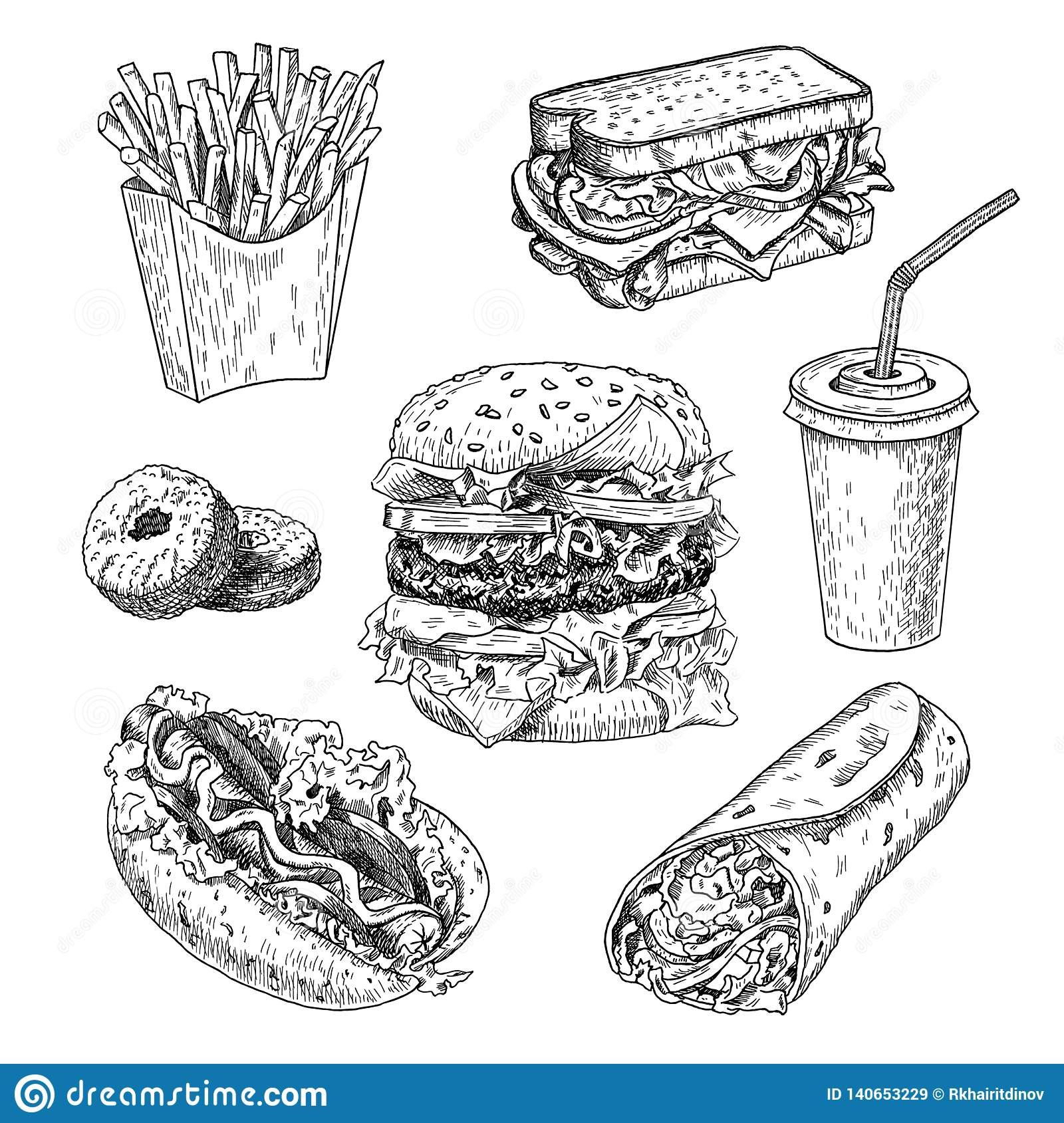Fast food hand drawn vector illustration. Hamburger, french fries, sandwich, hot dog, doughnuts, burrito and cola engraved style.