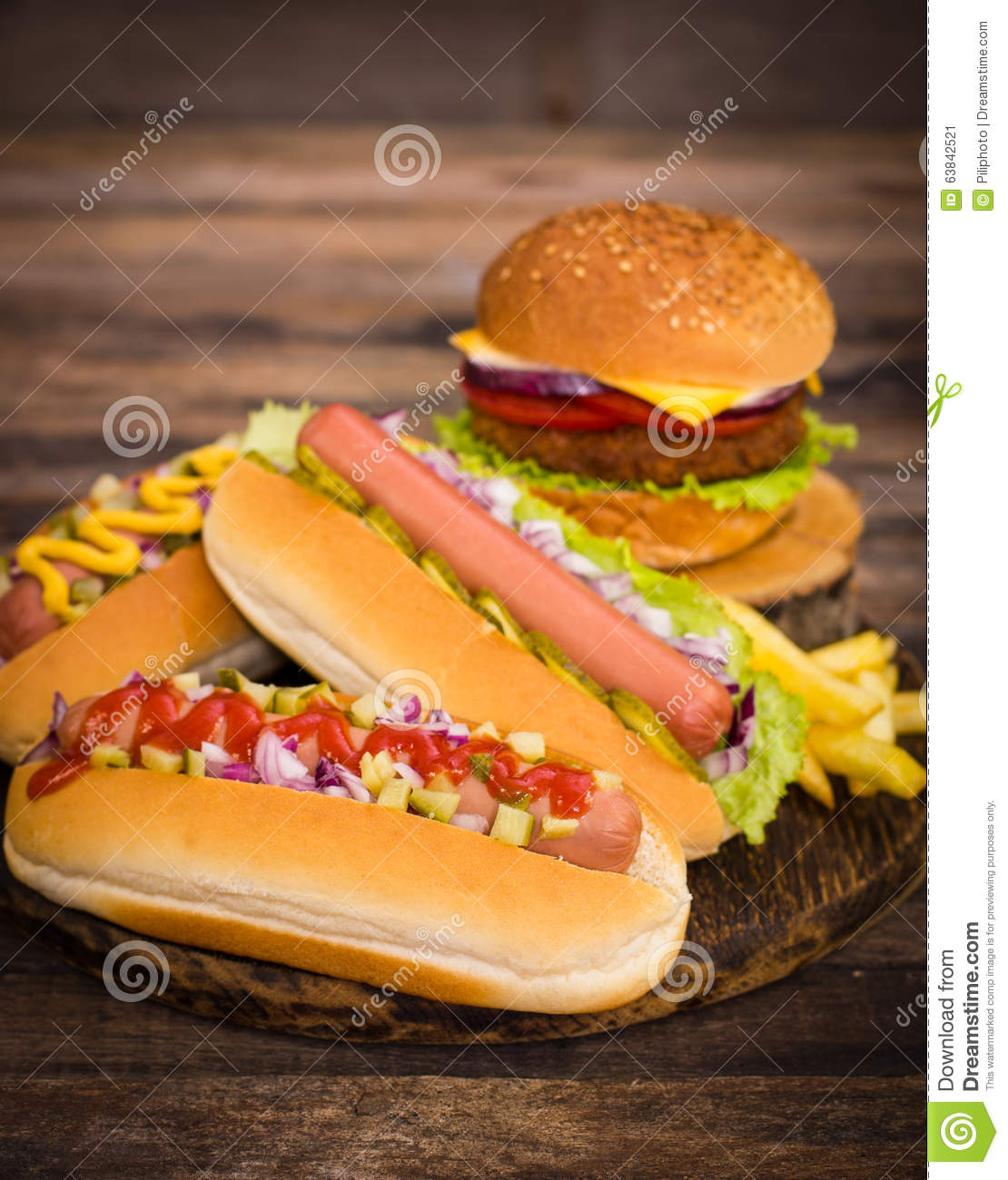 fast food hot dogs hamburger and french fries stock image image 63842521. Black Bedroom Furniture Sets. Home Design Ideas