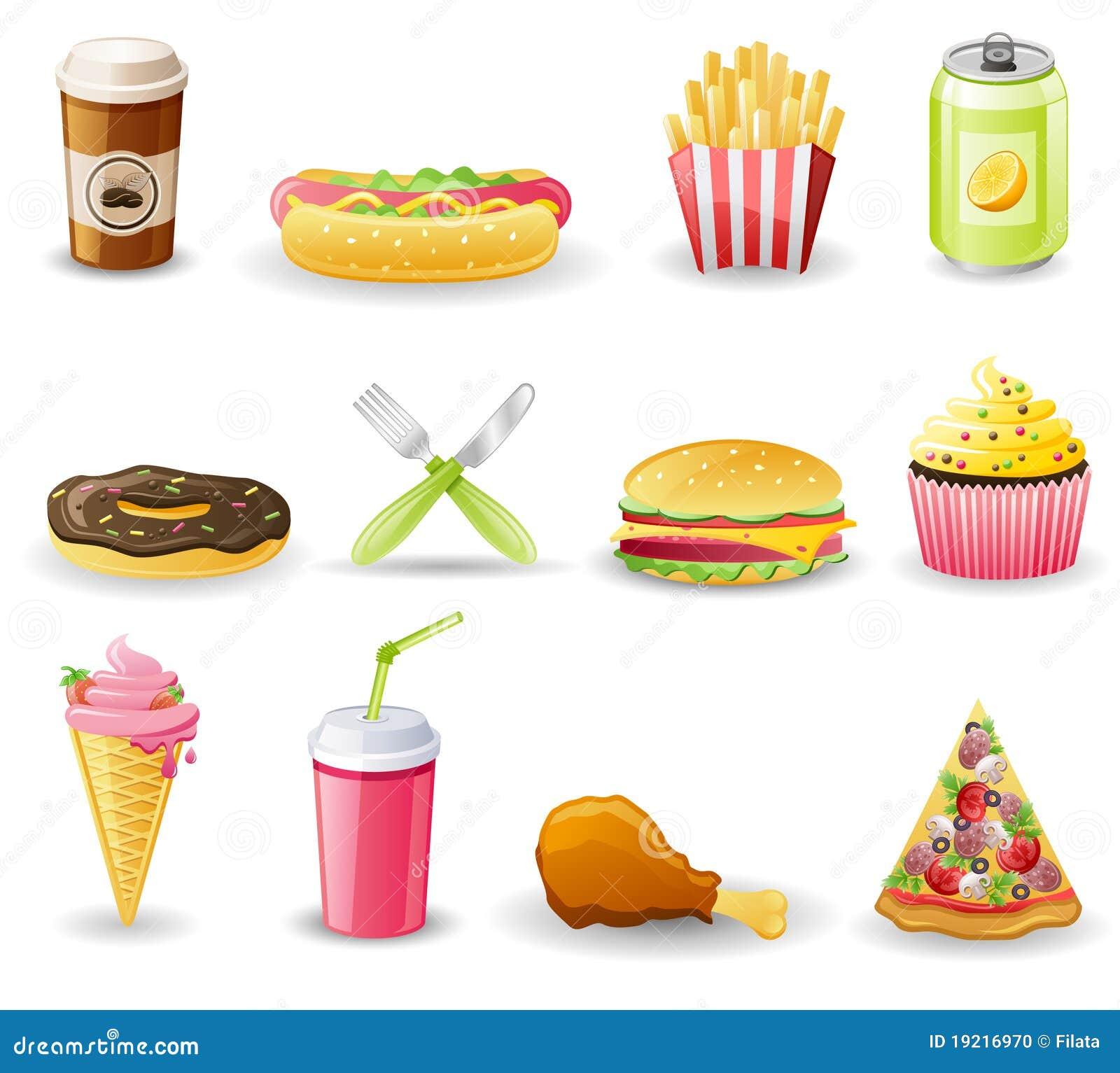 Fast Food Icon Set. Stock Photo - Image: 19216970