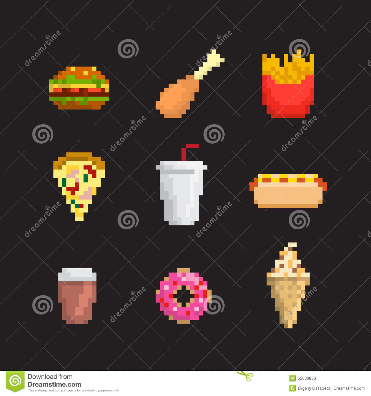 fast food icon set stock vector  illustration of drink