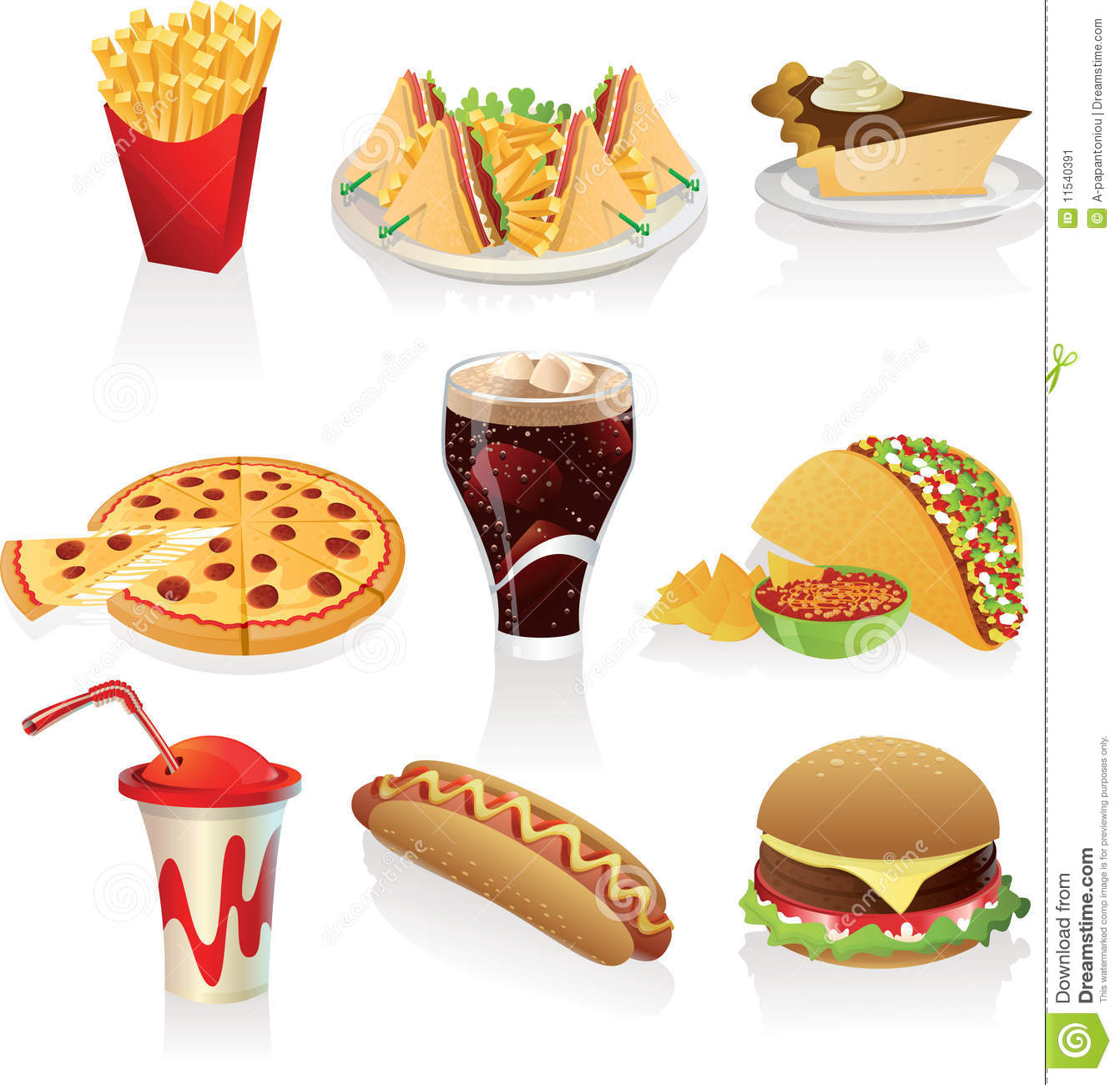 Fast Food Icons Stock Image Image 11540391