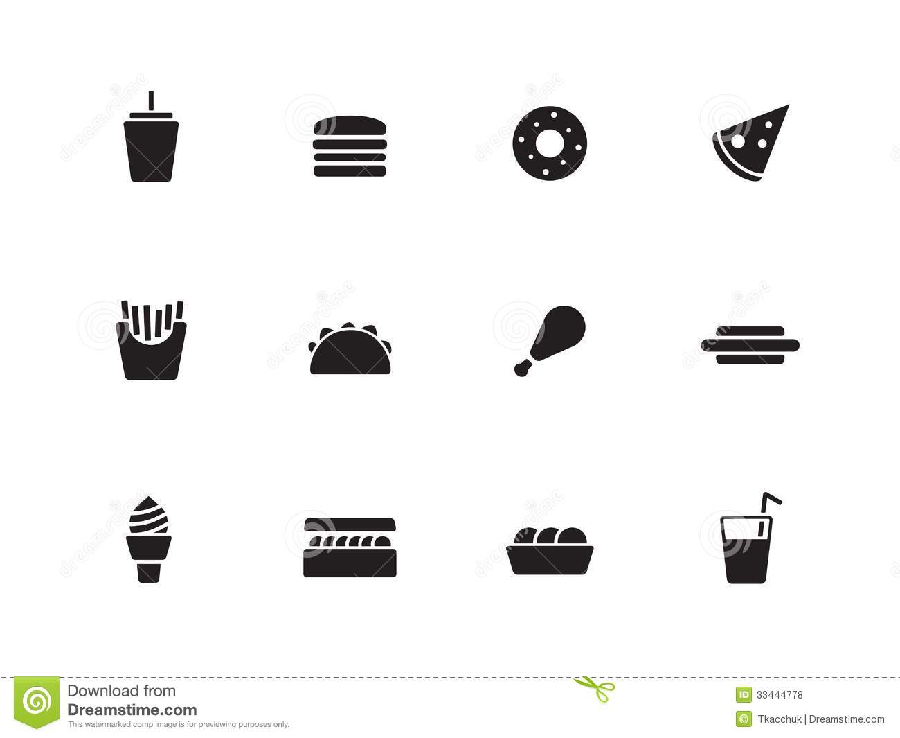 fast food icons on white background royalty free stock