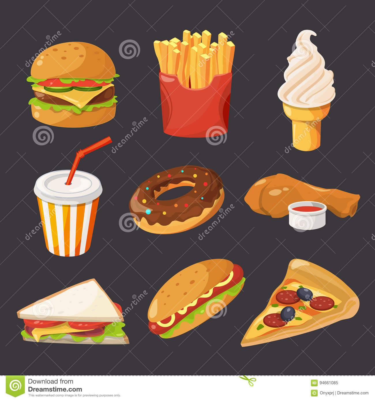 ace6b2720905 Fast Food Illustration In Cartoon Style. Pictures Of Burger, Cold ...
