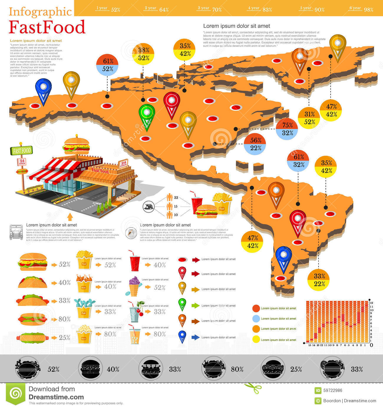 Fast Food Infographic. Map Of America And Mexico With Different Info ...
