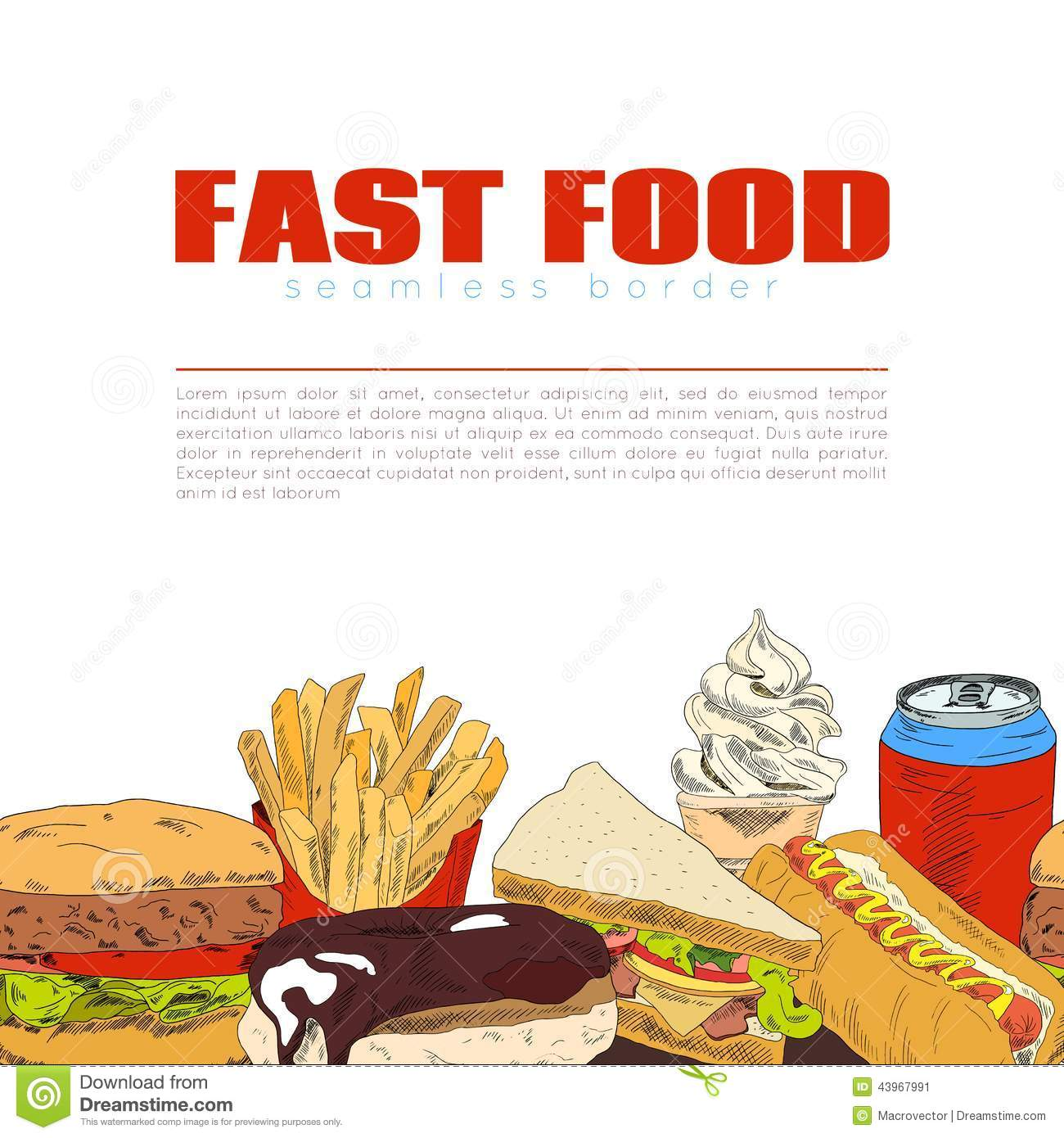 fast food infographic seamless border banner stock vector