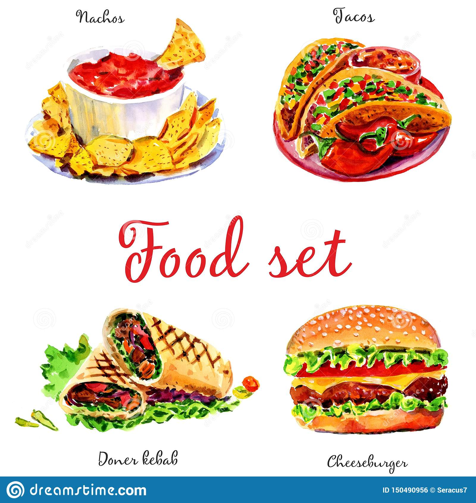 Fast food. Isolated objects on white background