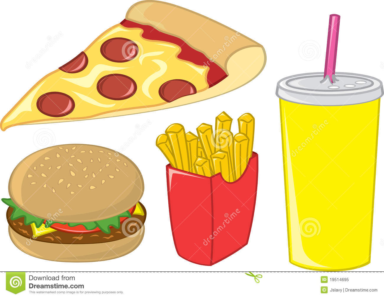 fast food items stock vector image of food diet healthy
