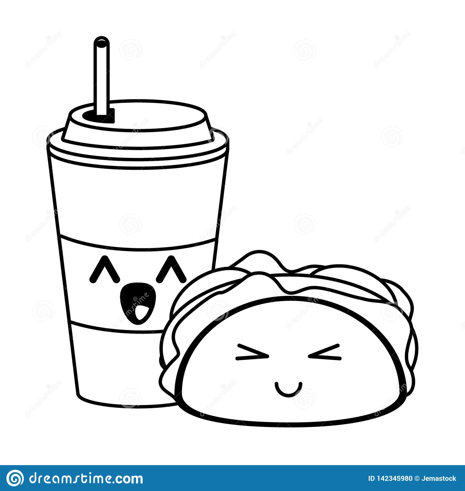 Fast Food Kawaii Cartoon In Black And White Stock Vector
