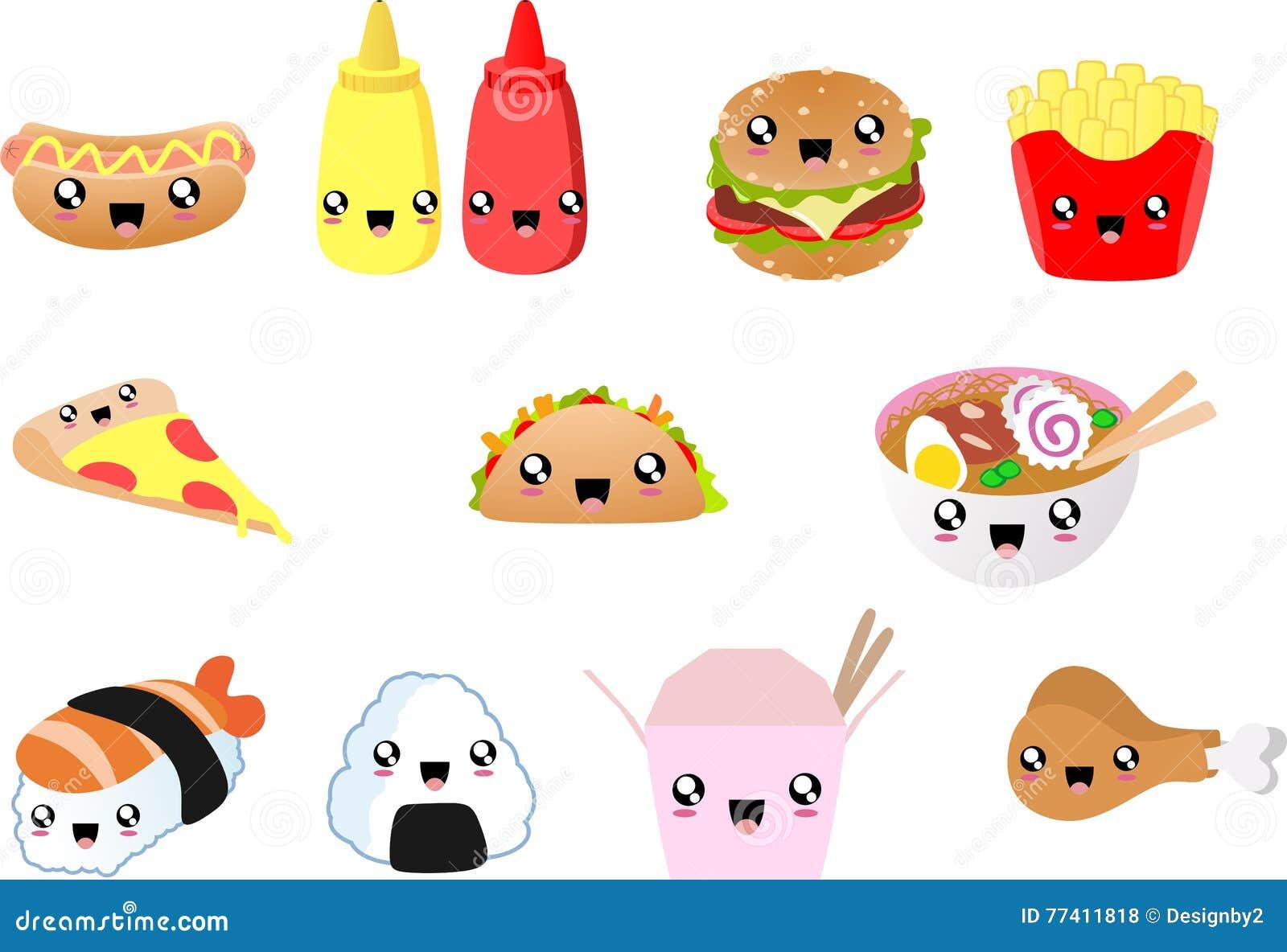 Fast Food Kawaii Food, Hot Dog, Hamburguer, Pizza Night