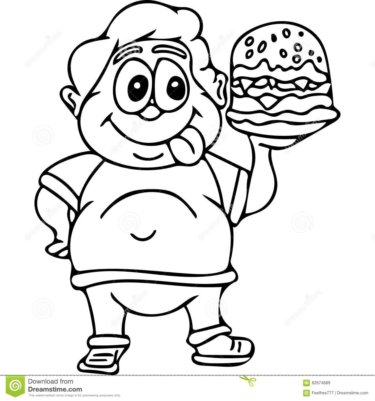 Fast Food Kids Coloring Pages Stock Illustration