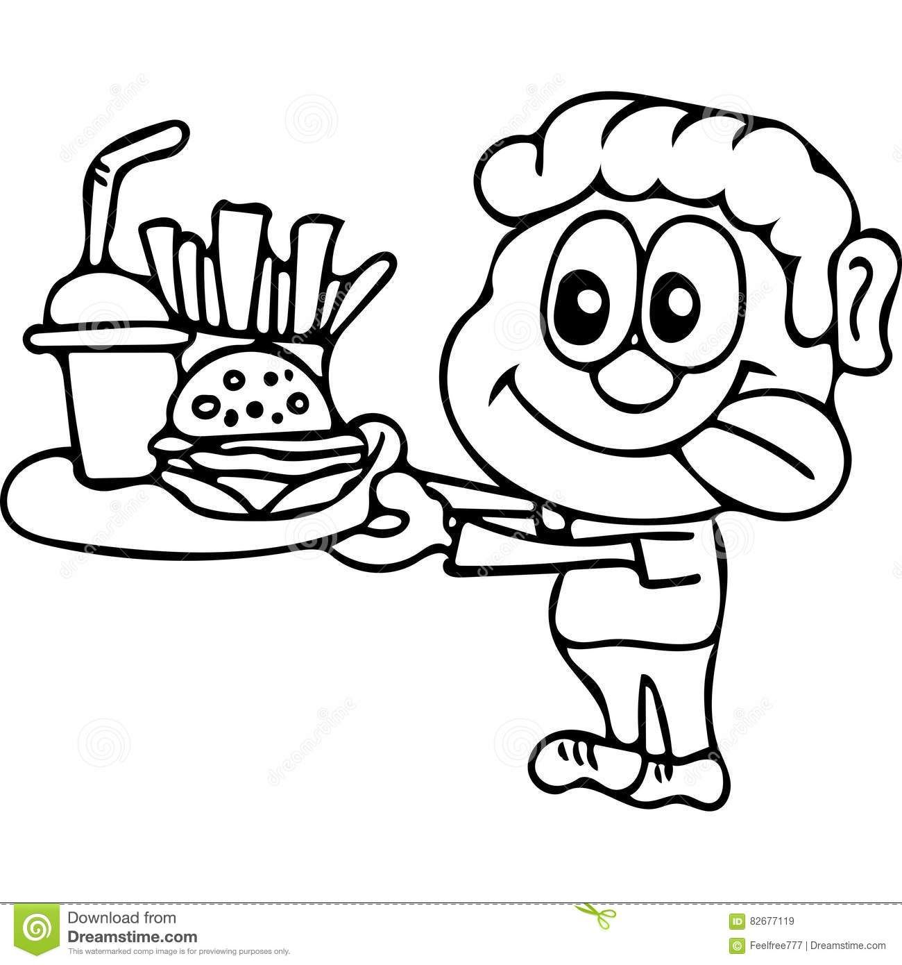 Fast Food Kids Coloring Pages Stock Illustration - Illustration of ...