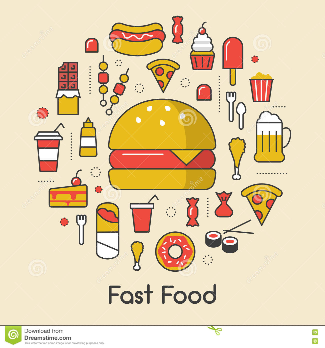 Fast Food Line Art Thin Icons Set With Burger Pizza And