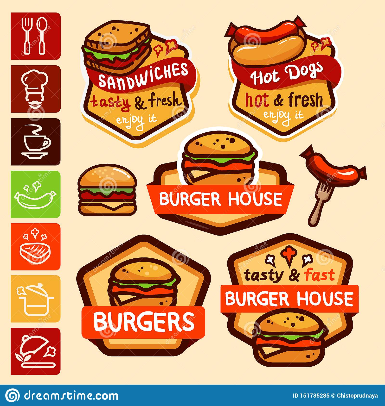 Fast Food Logos And Emblems Set Stock Vector Illustration Of Meat Isolated 151735285