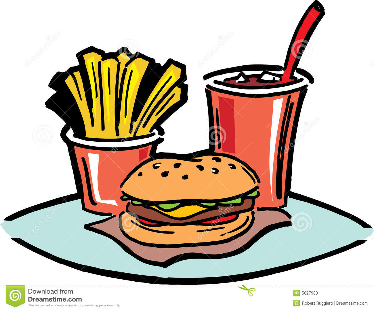 lunch food fast fries hamburger fat greasy coke vector preview