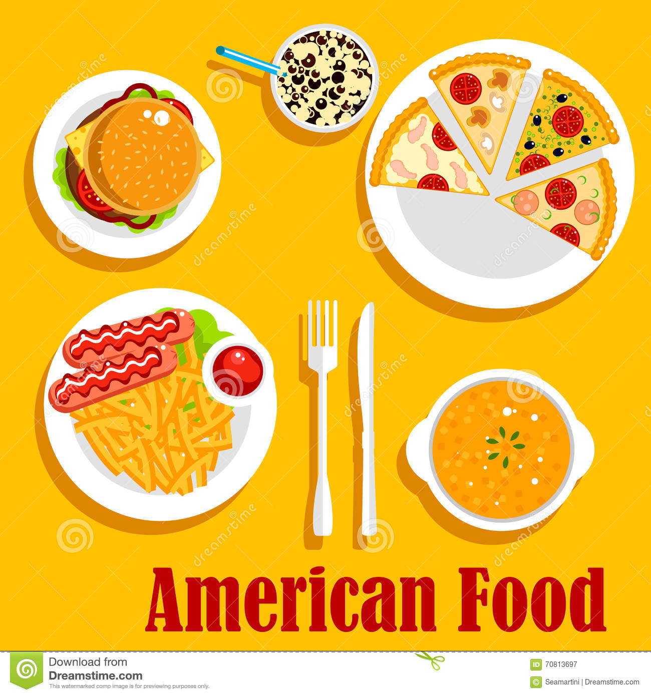 Fast food lunch of american cuisine flat icon stock vector for American cuisine