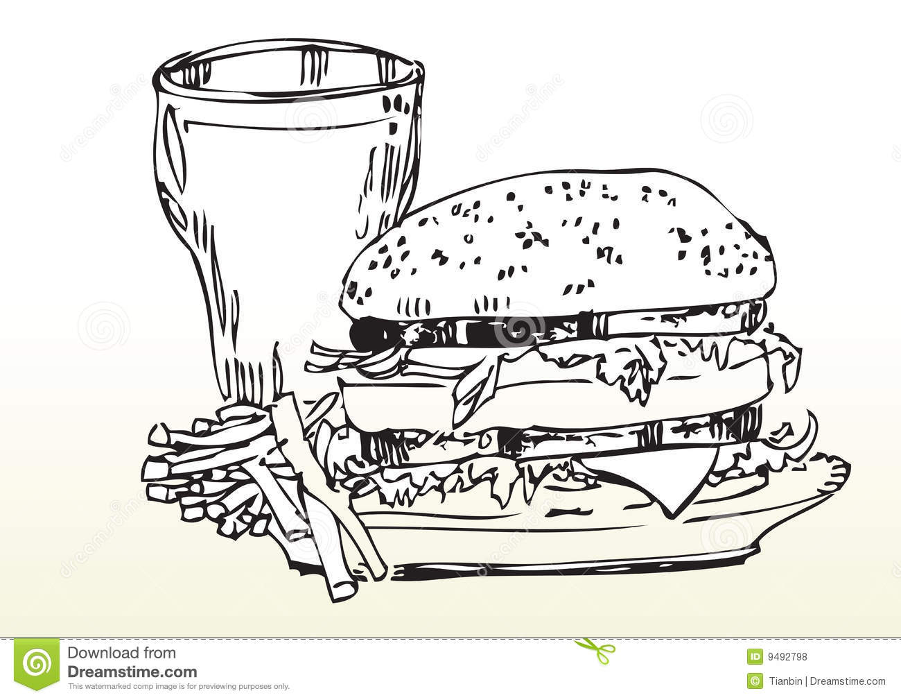 Fast Food Meal Drawing Royalty Free Stock Photos - Image: 9492798