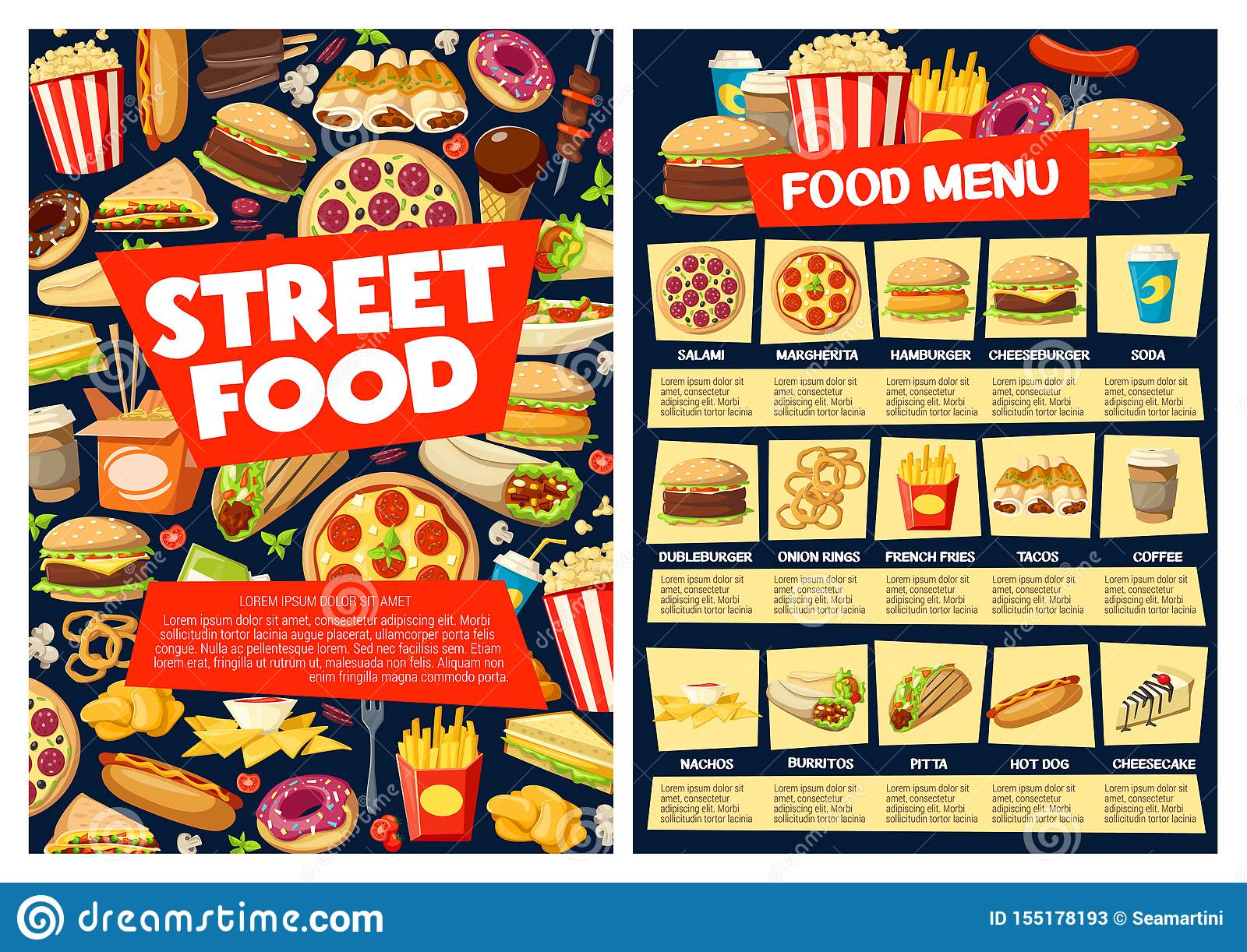 Fast Food Meal Menu With Burger Pizza Drinks Stock Vector Illustration Of Italian Chicken 155178193