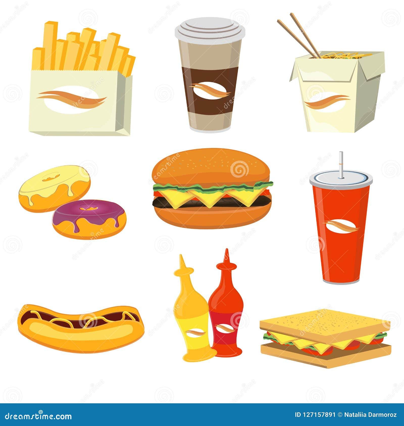 food drinks fast menu icons cartoon meals flat