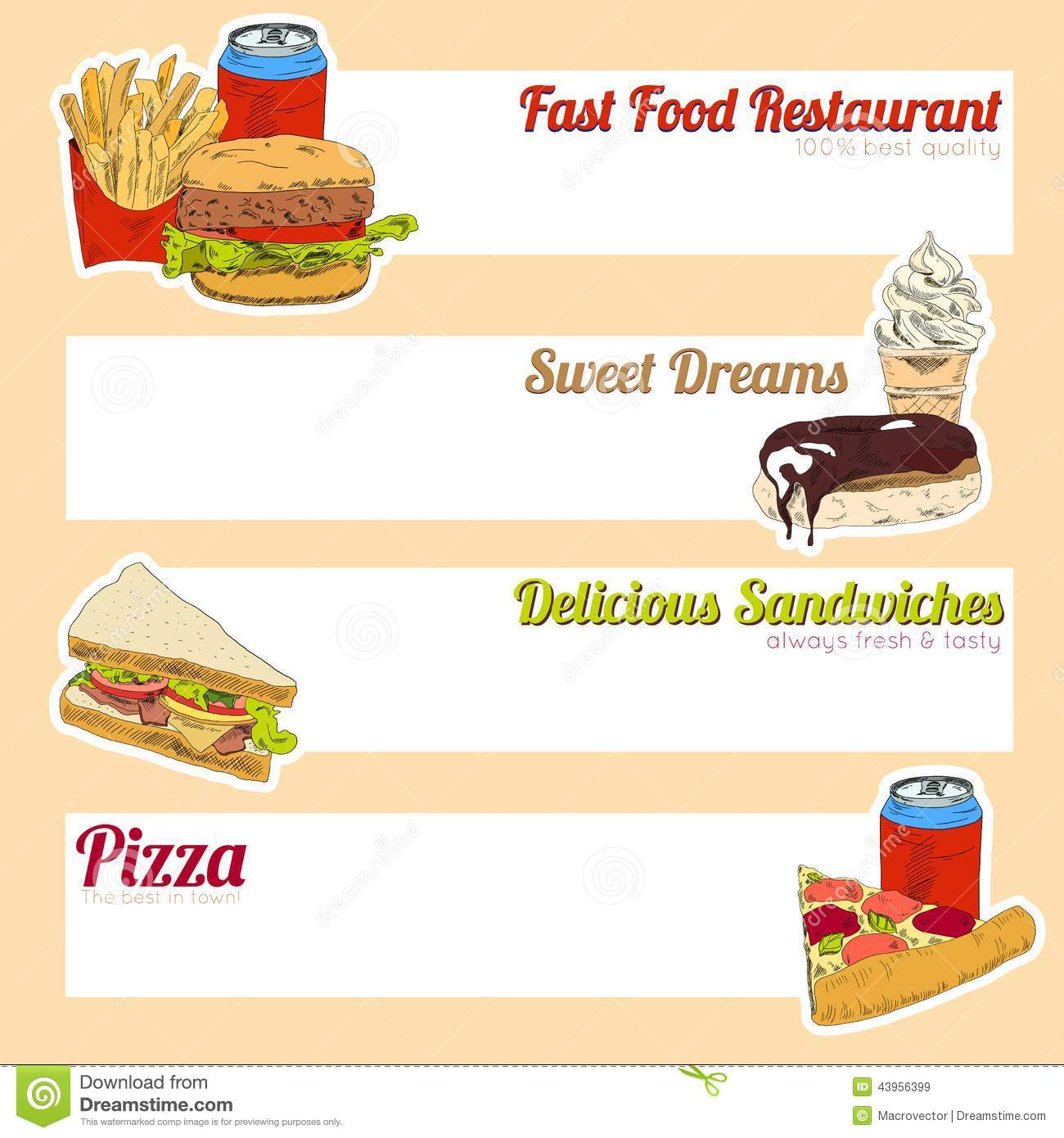 Fast food menu banner stock vector image of commercial for Sandwich shop menu template