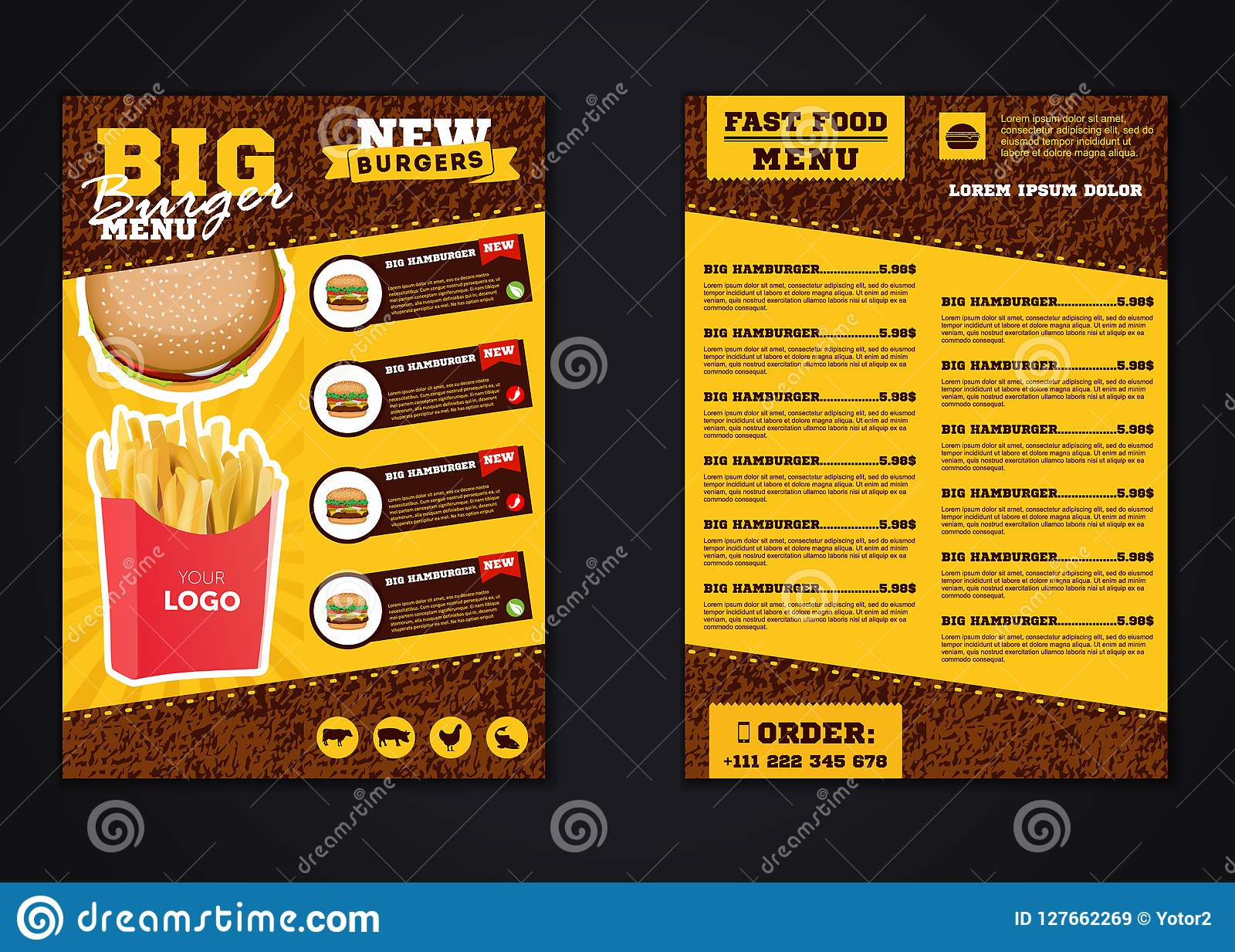 fast food menu brochure design vector template in a4 size. flyer