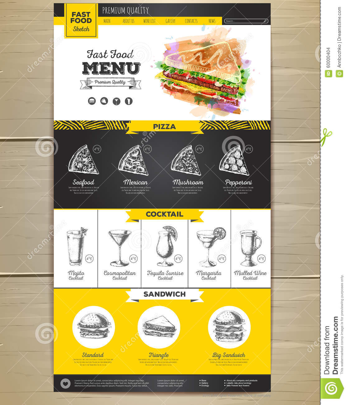 Fast Food Menu Concept Web Site Design. Stock Vector - Illustration of  mexican, drawing: 60000404