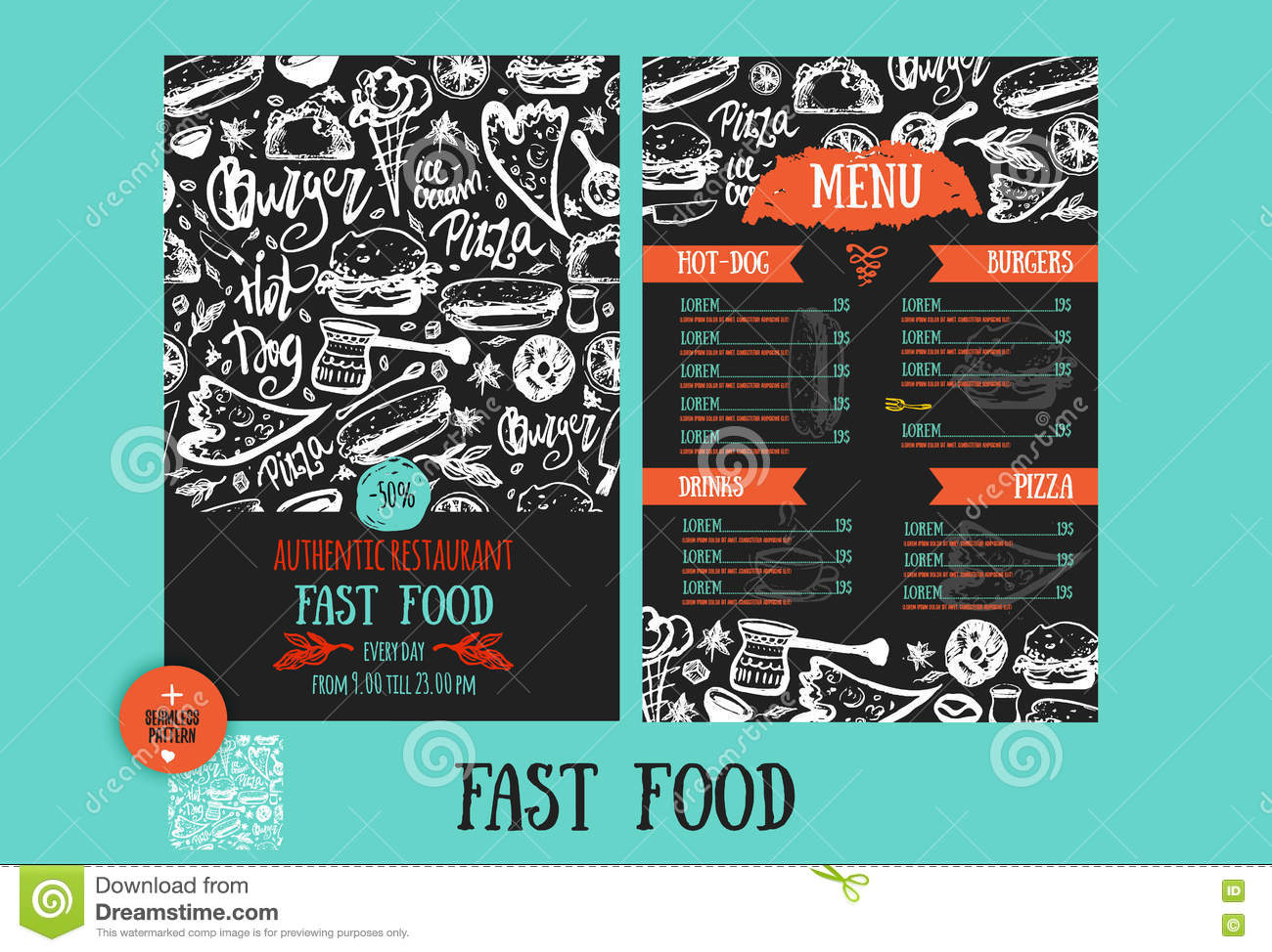 Fast Food Menu Design Template With Hand Drawn Vector Illustration Cover Of Restaurant Menu With Burger Pizza Hot Dog Stock Vector Illustration Of Drink Breakfast 81388304