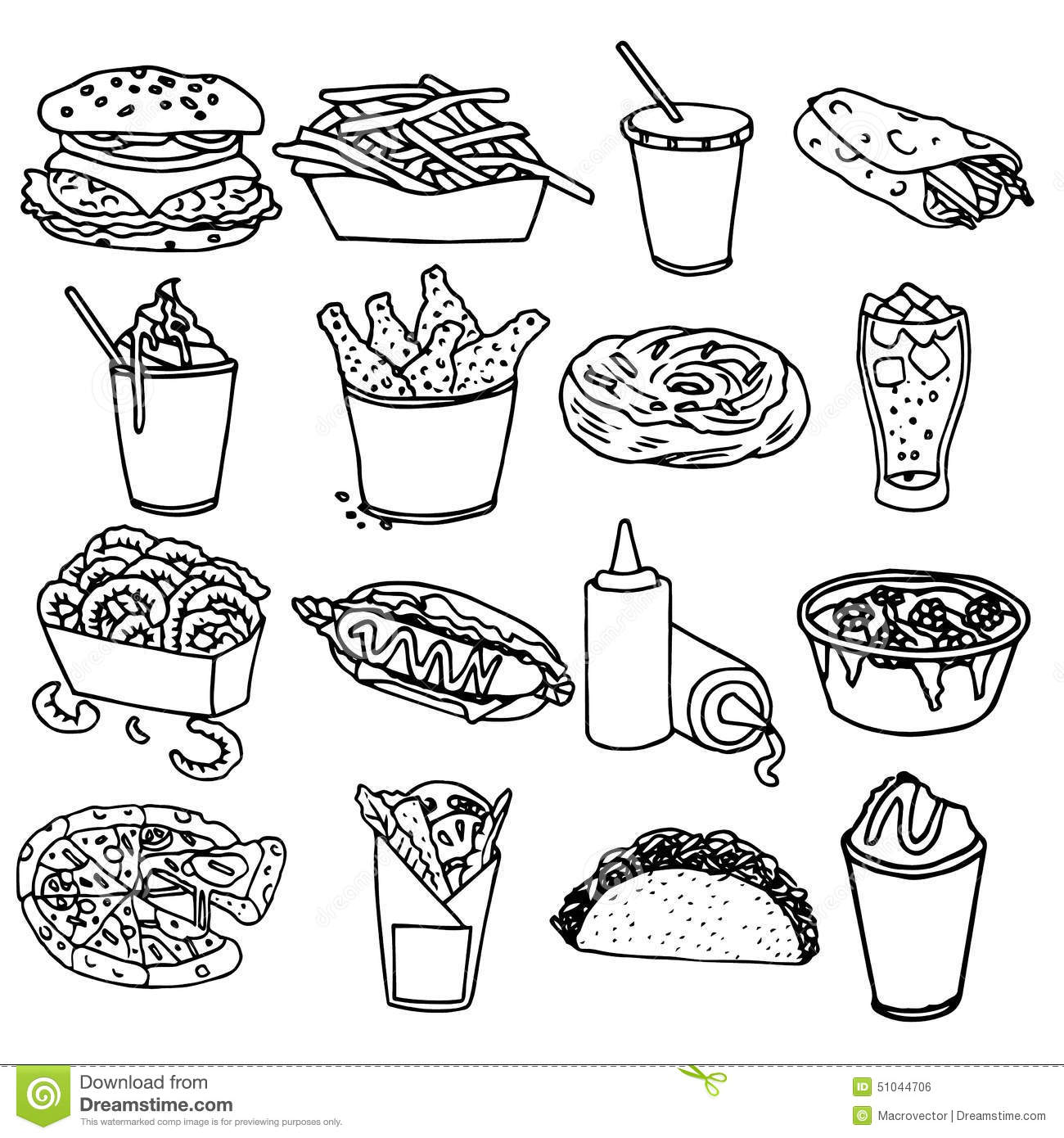 Fast Food Menu Icons Black Outline Stock Vector Image