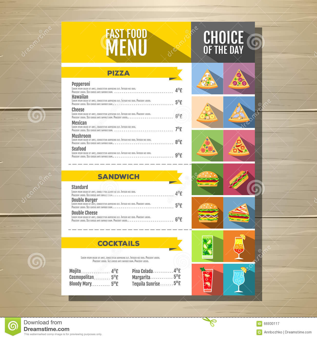 how to use food and drink menu