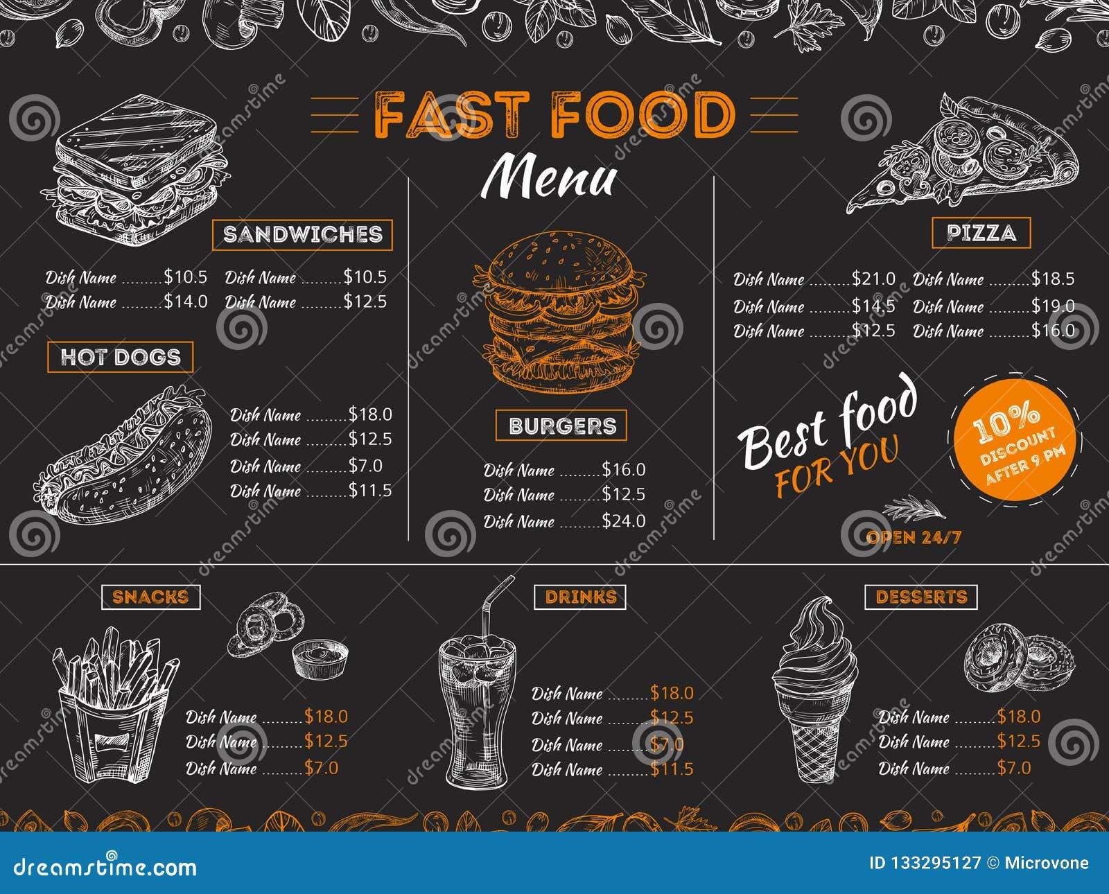 Fast Food Menu Sketch Sandwich Burger Pizza Snacks Vintage Design On Chalkboard Fast Food Restaurant Menu Board Stock Vector Illustration Of Banner Drawing 133295127