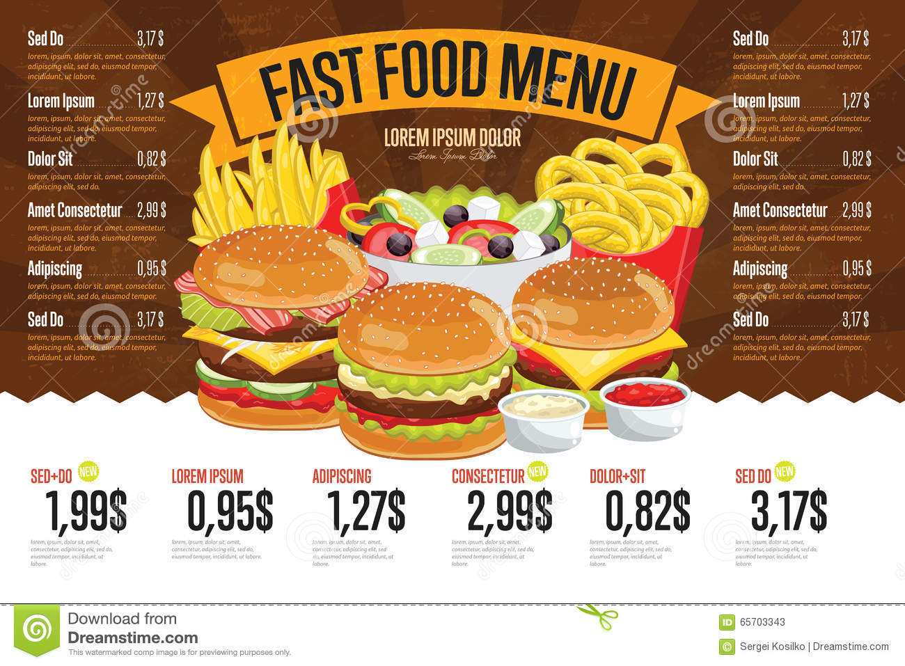 download fast food menu template stock vector illustration of template 65703343