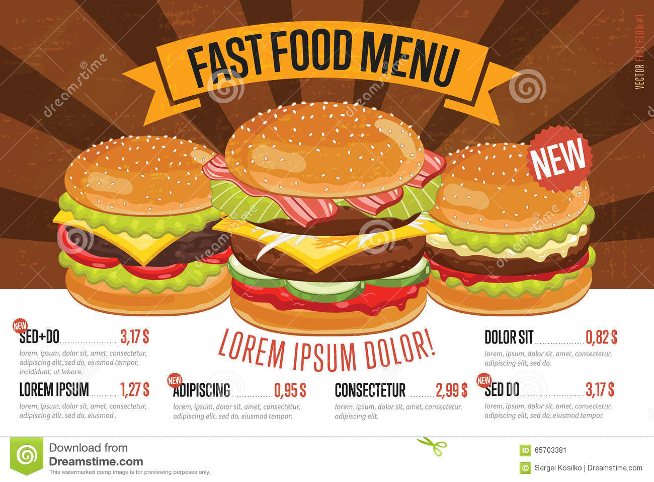 Fast Food Restaurant Daily Specials