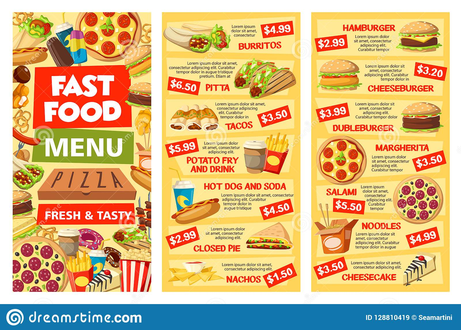 Fastfood Menu Banners Takeaway Food And Prices Stock Vector
