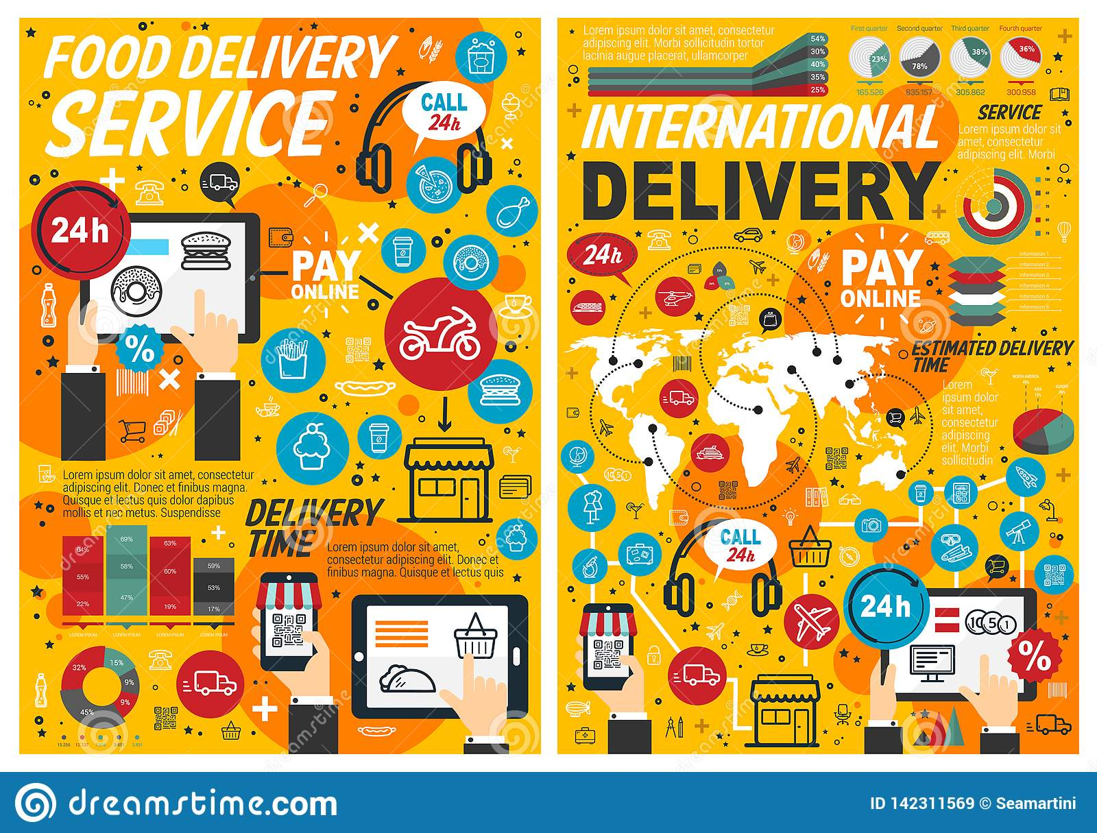 Fast Food Online Delivery Service Infographics Stock Vector