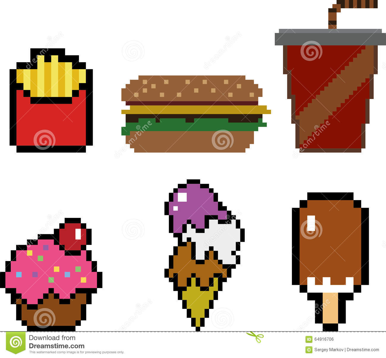 Fast Food In Pixel Art Style Stock Vector Illustration Of