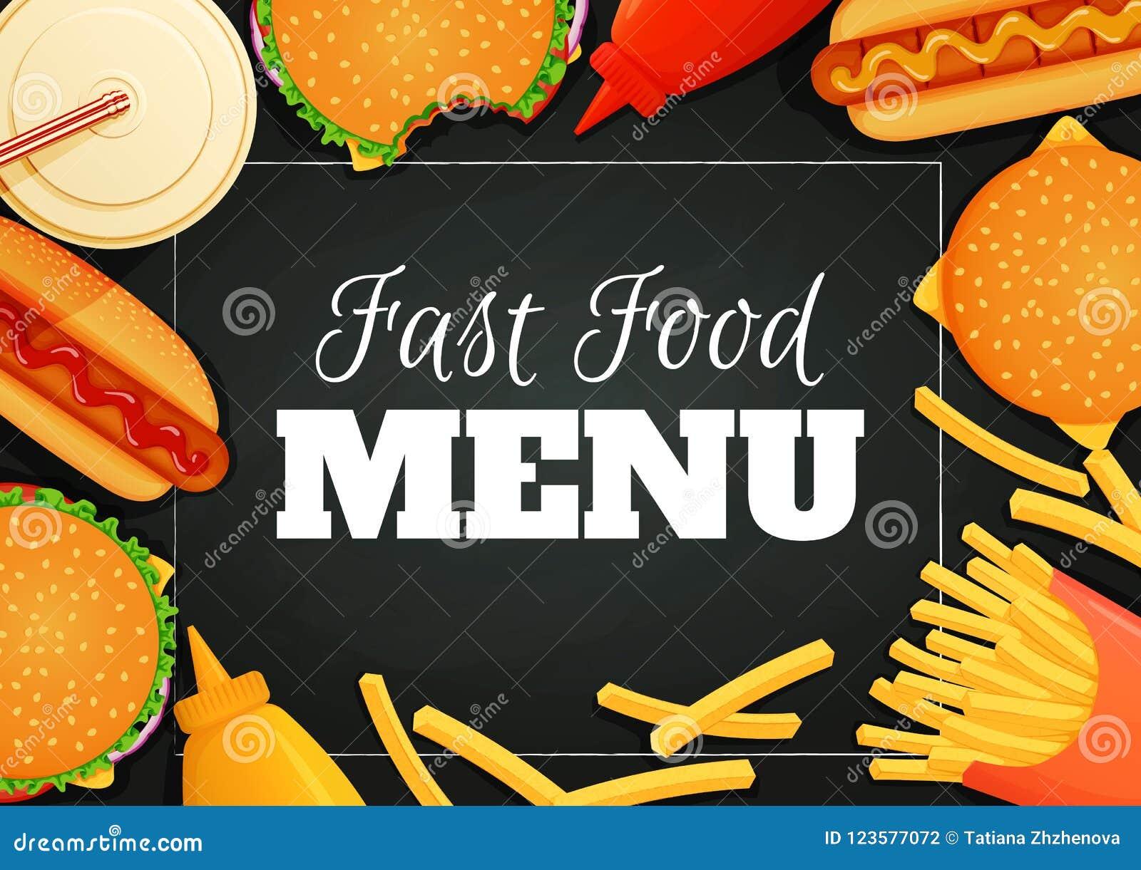 Fast Food Poster Banner Menu Template Burgers Hot Dogs Ketchup