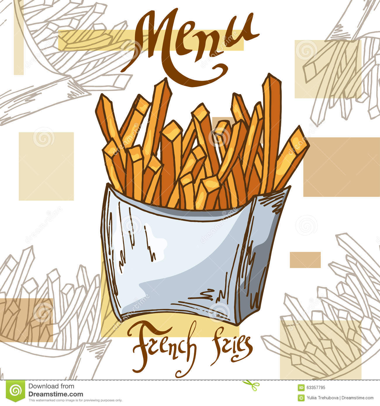 Fast Food Poster With French Fries Hand Draw Retro