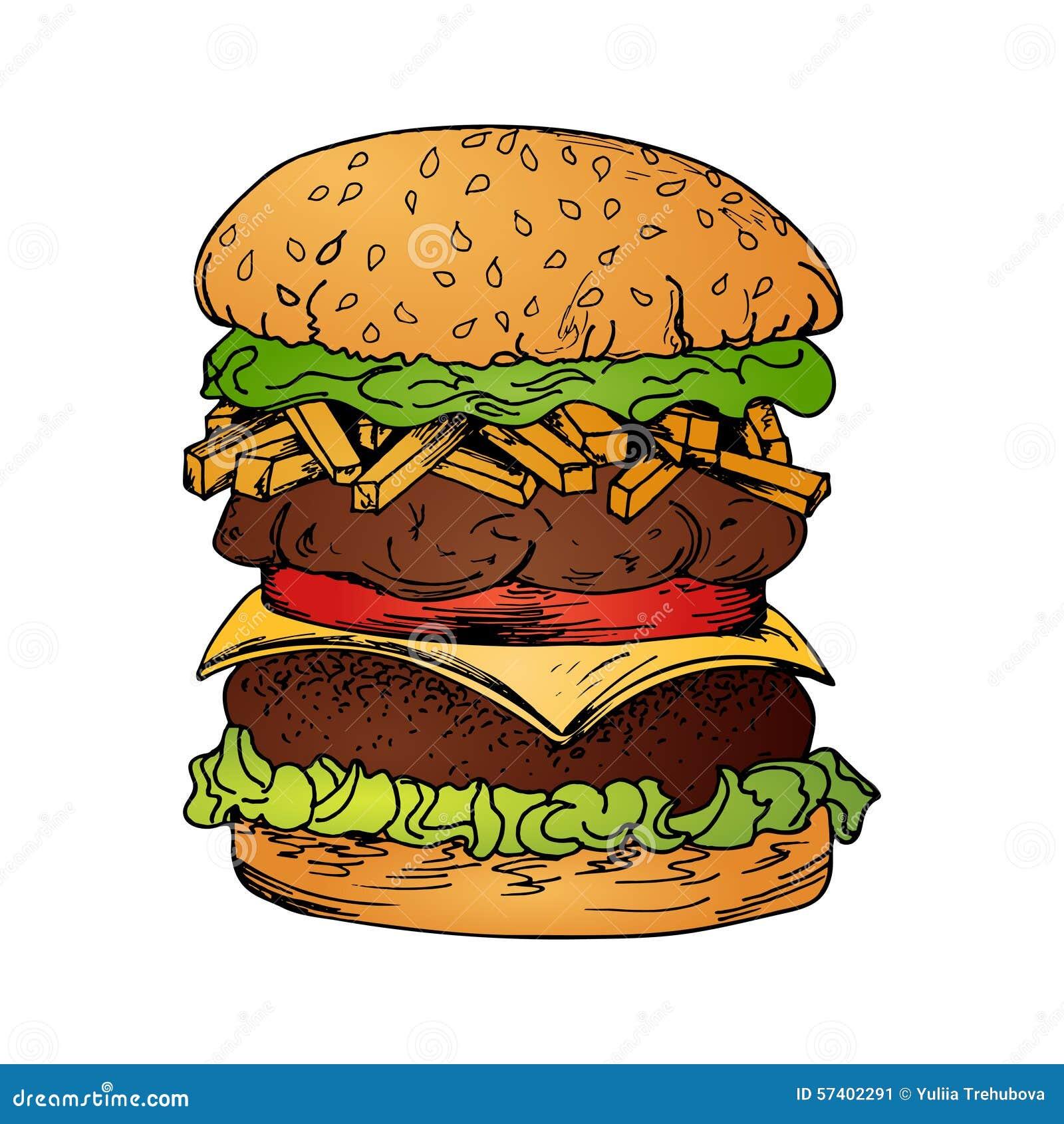 Fast Food Poster With Hamburger. Hand Draw Retro ...  Retro Clip Art Food