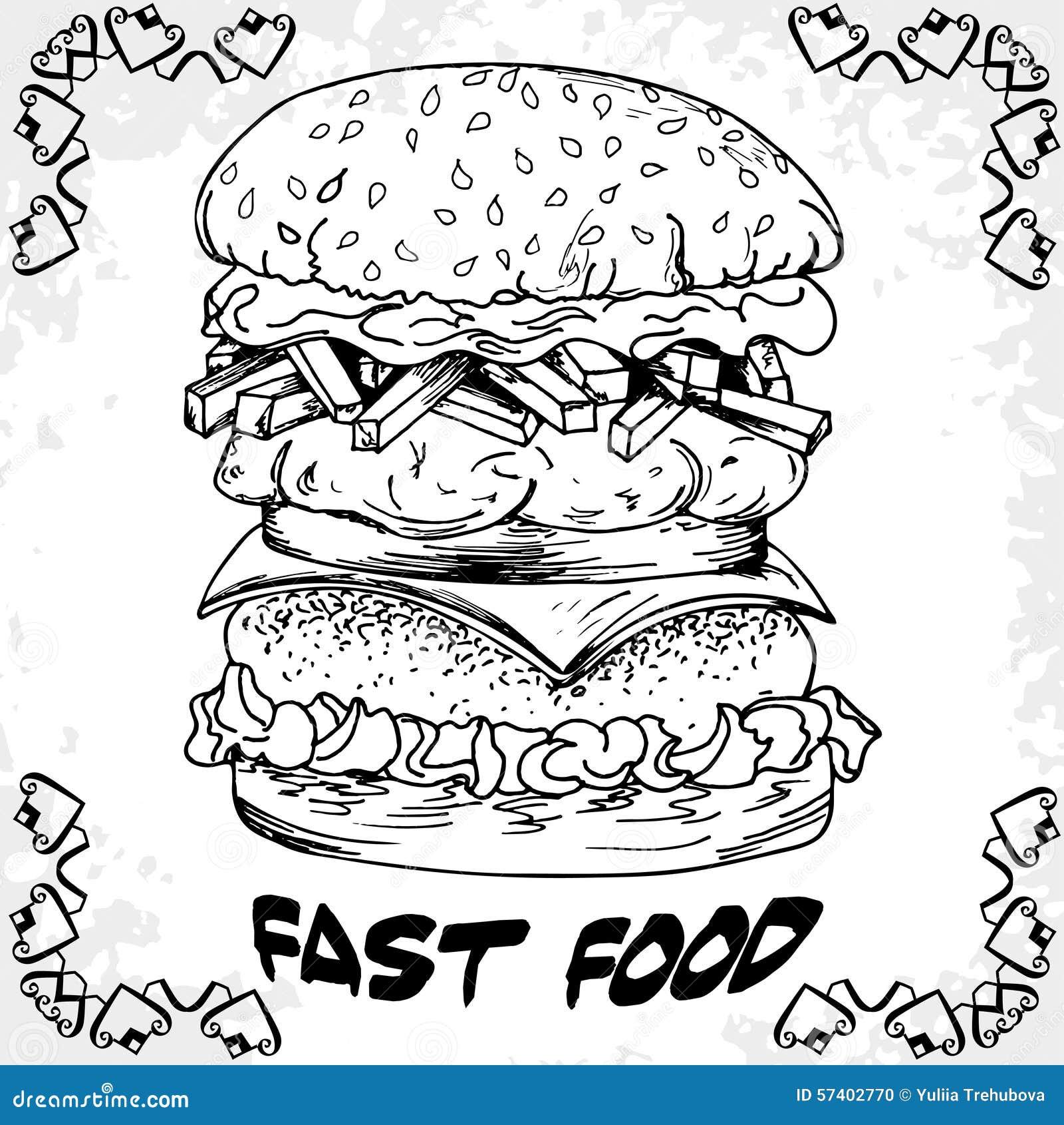 Fast Food Poster With Hamburger Hand Draw Retro Illustration V