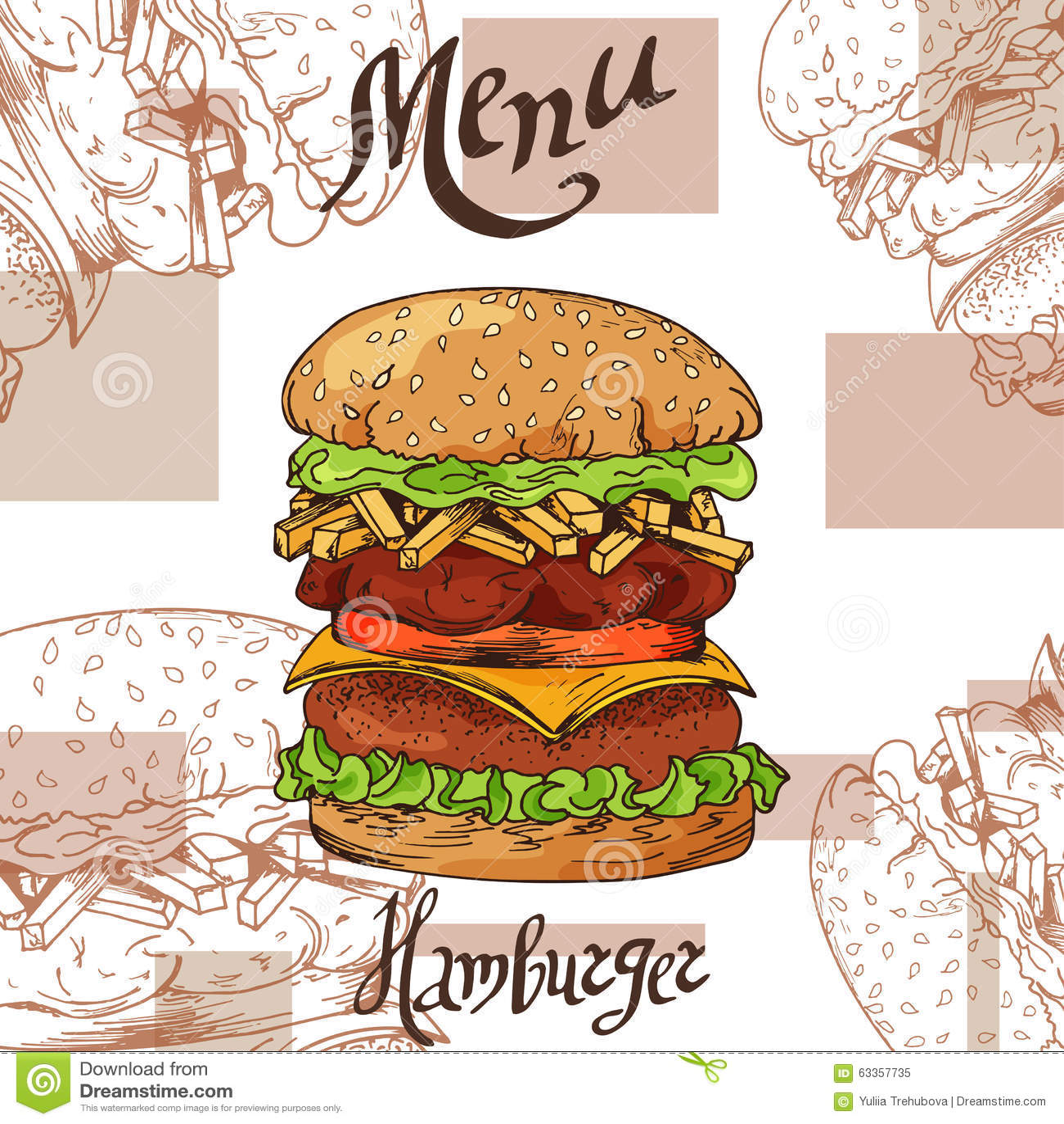 fast food poster with hamburger hand draw retro illustration vintage burger design template. Black Bedroom Furniture Sets. Home Design Ideas
