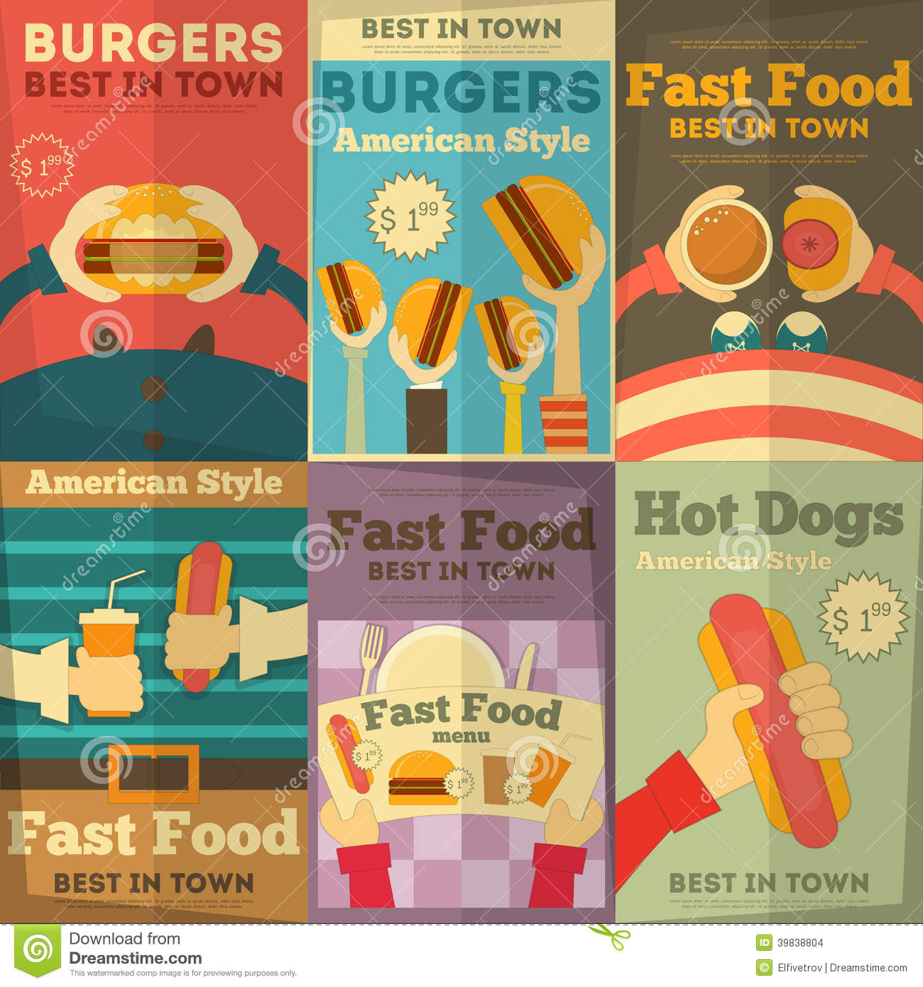 fast food posters collection stock vector image 39838804. Black Bedroom Furniture Sets. Home Design Ideas