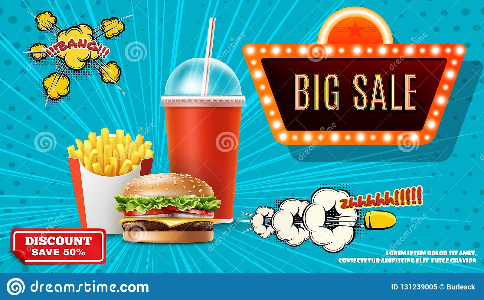 Fast Food Promotional Concept Stock Vector - Illustration of