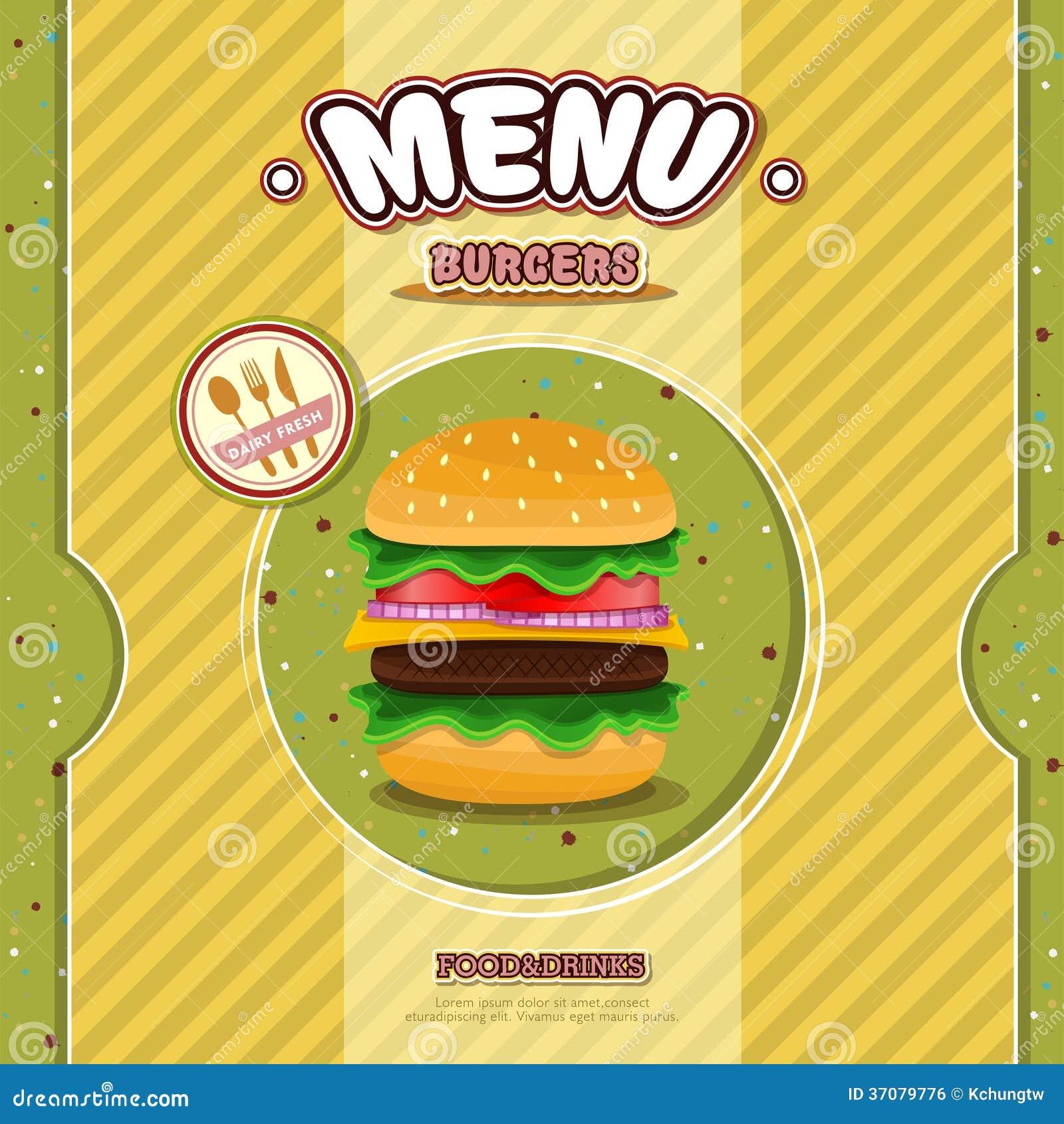 Download Fast food restauraci menu ilustracja wektor. Ilustracja złożonej z etykietka - 37079776