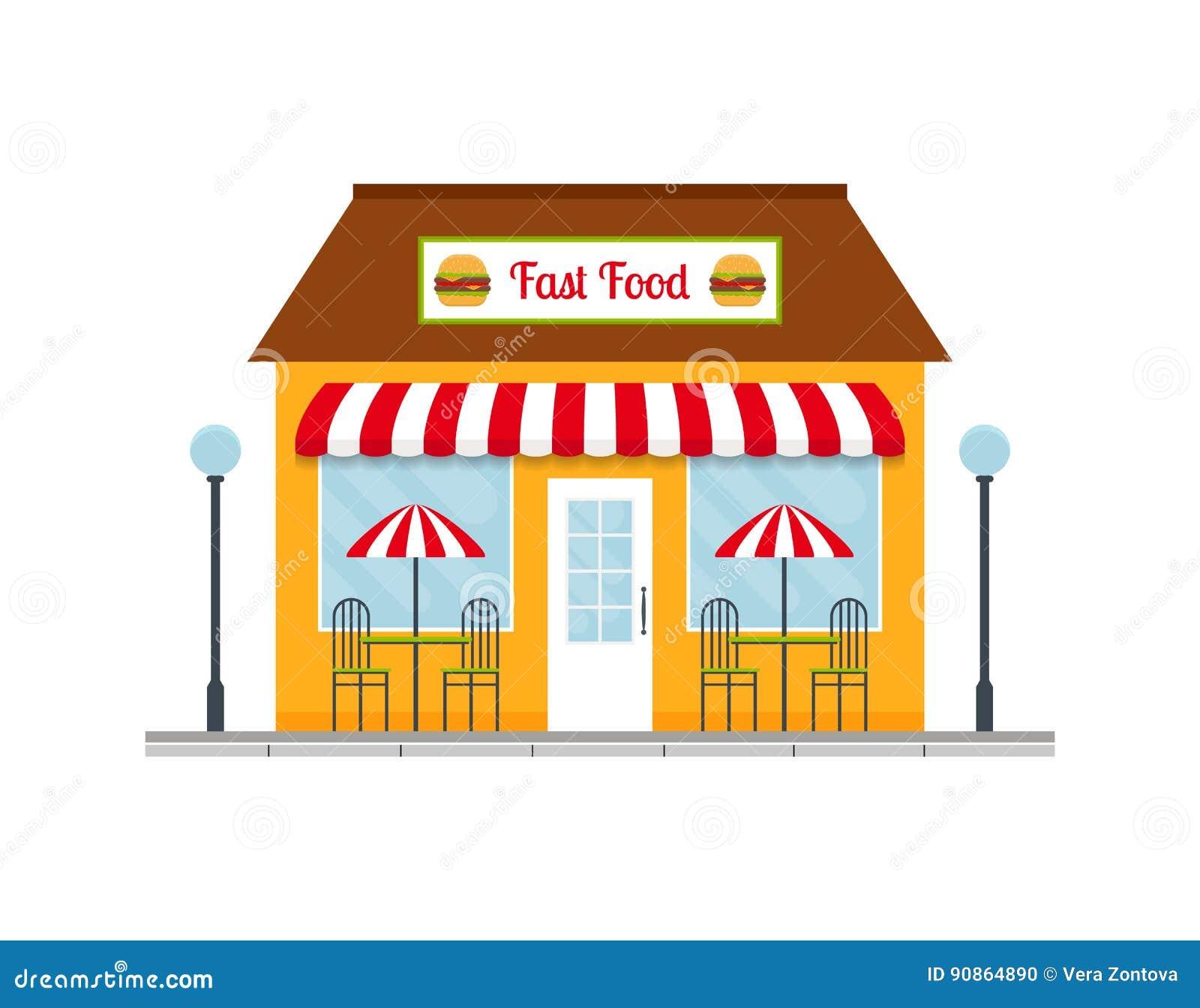 Building cartoon clipart restaurant building and restaurant building - Royalty Free Vector Download Fast Food Restaurant Building