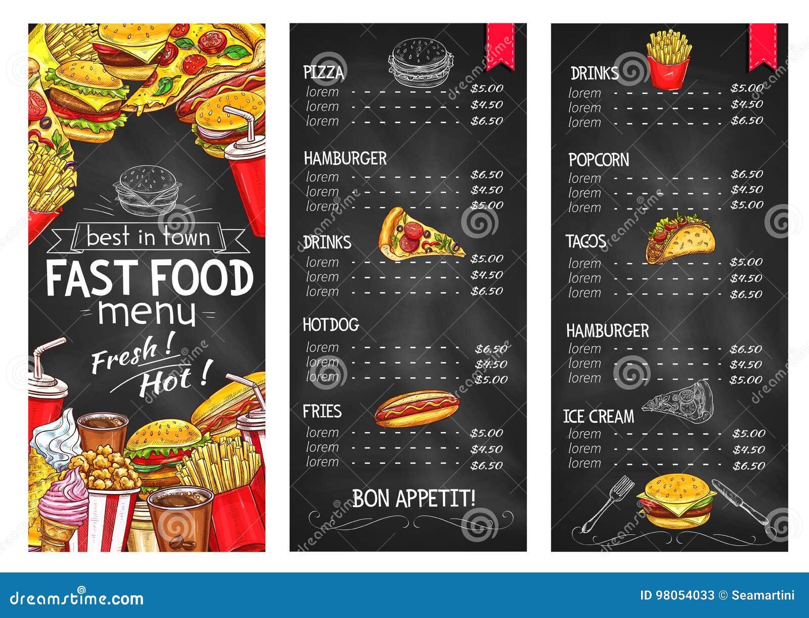 fast food restaurant chalkboard menu template stock vector