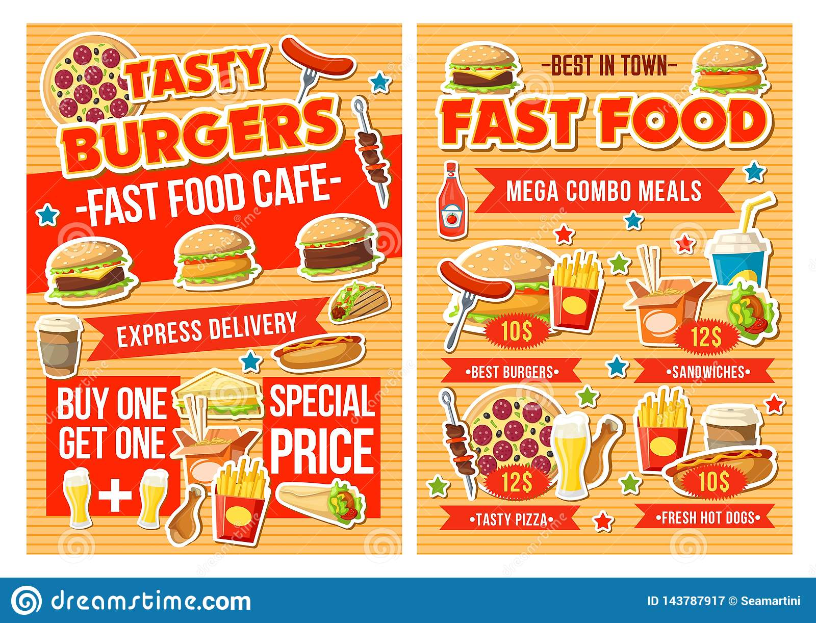 Fast Food Burger Pizza And Drinks Combo Menu Stock Vector Illustration Of Mexican Hotdog 143787917