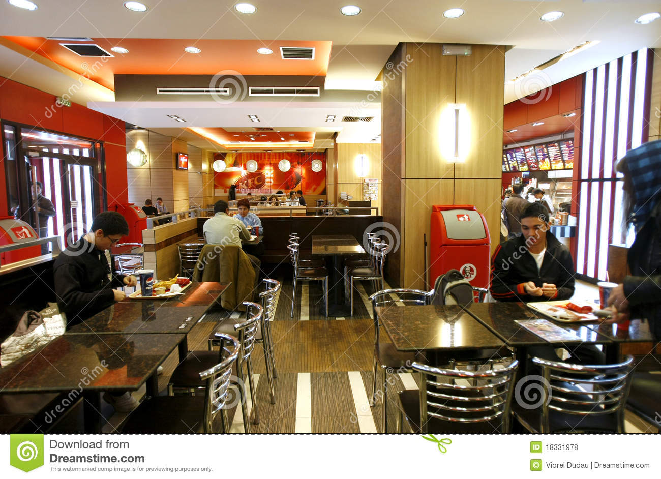 Fast food restaurant interior editorial stock photo