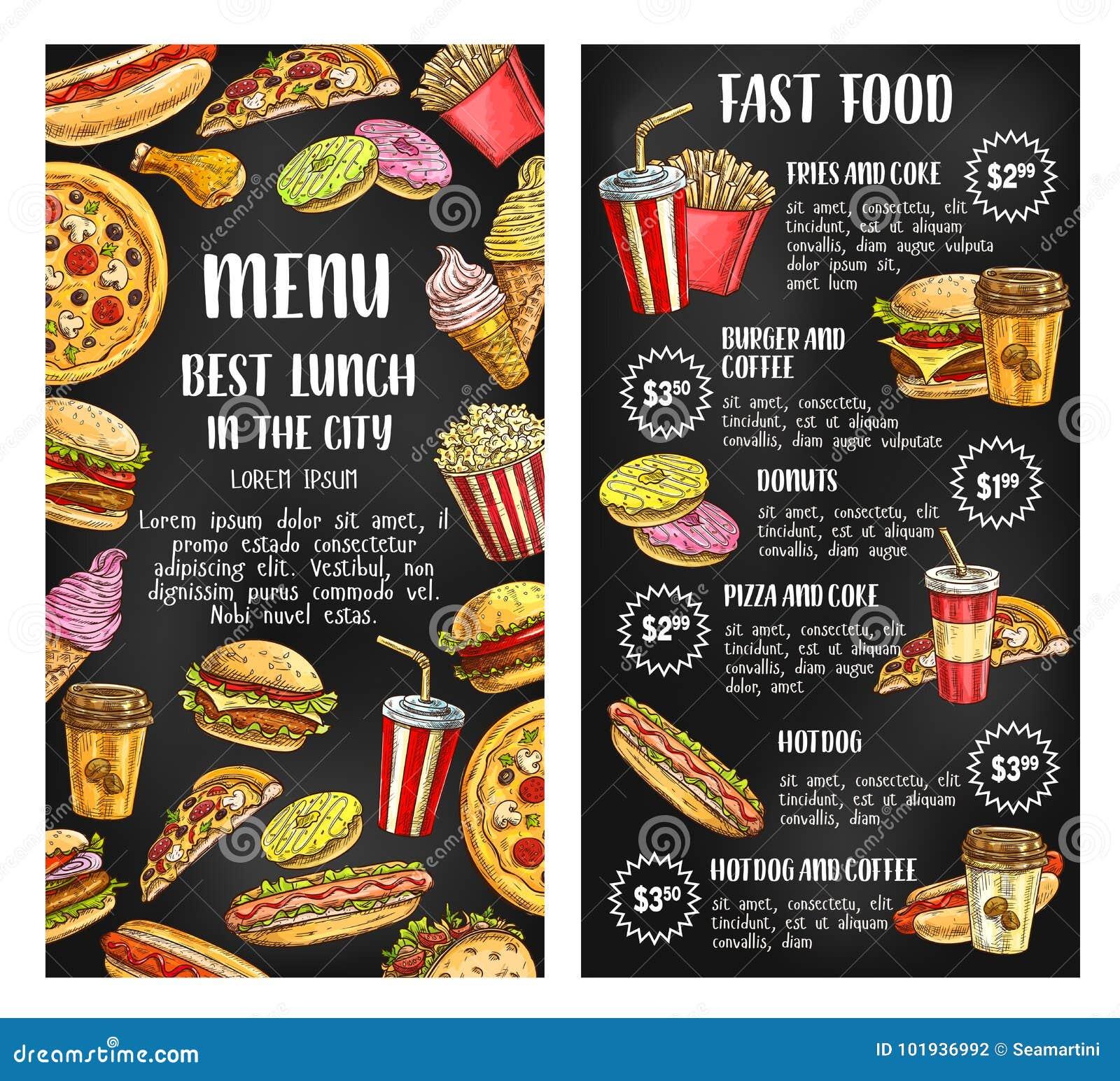 9f8fb9b4d443 Fast Food Restaurant Menu Banner On Chalkboard Stock Vector ...