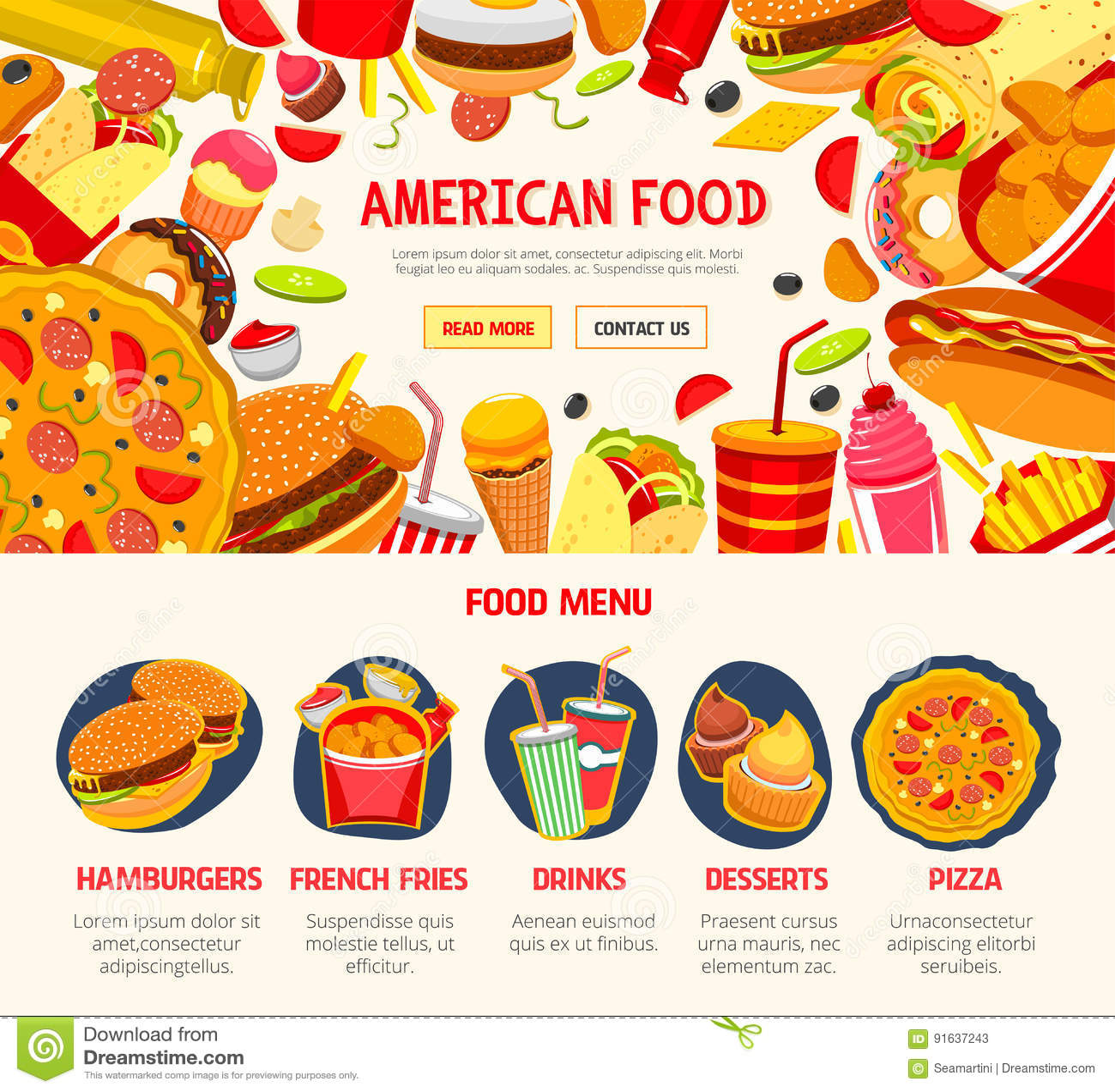 Fast Food Restaurant Menu Banner Template Stock Vector