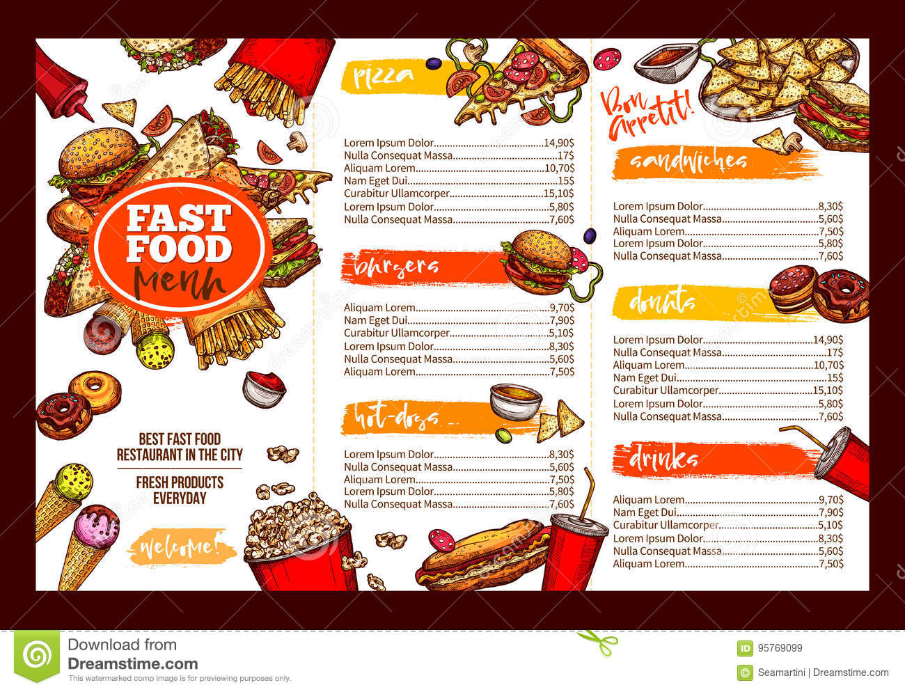 fast food restaurant menu brochure template design stock vector