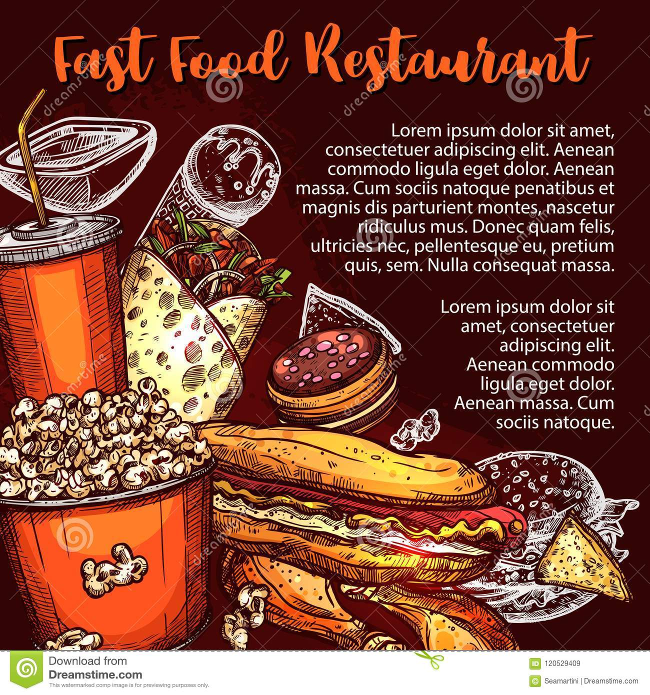 fast food restaurant menu cover with lunch dish stock vector